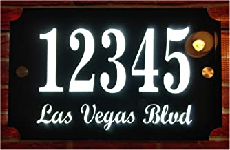 """Custom House Address Plaque, LED Illuminated Door# and Street Name Sign, Premium Quality, Stylish and Durable (11""""x7"""" Rect..."""