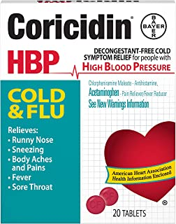 Coricidin HBP Cold & Flu Tablets, 20 ea (Pack of 4)