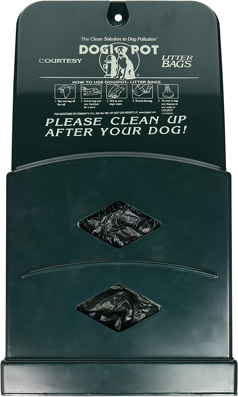 DOGIPOT 10072 Junior Bag Dispenser with Litter Bag Rolls, Polyethylene, Forest Green