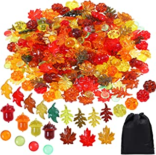 Aneco 240 Pieces Acrylic Fall Leaves Mini Acrylic Maple Leaves Pumpkin Acorns Crystals Gems Pine Cones Autumn Table Scatter for Thanksgiving Home Decoration or Autumn Party Favor