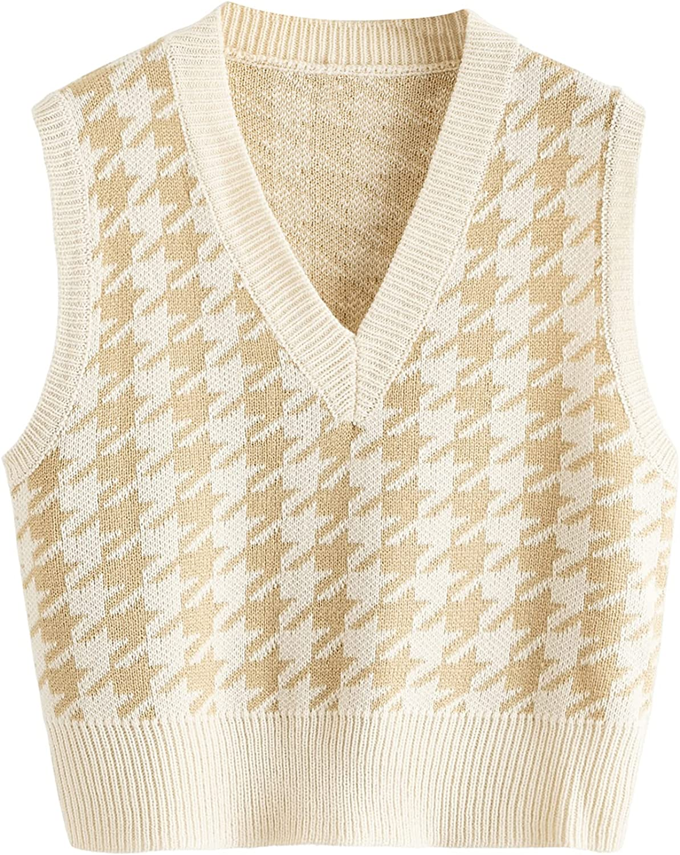 SweatyRocks Women's Sleeveless V Neck Knit Sweater Vest Houndstooth Crop Tank Top