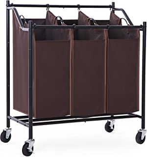 SONGMICS 3-Bag Laundry Sorter with Wheels Heavy Duty Laundry Hamper 3 Section Brown URLS70Z