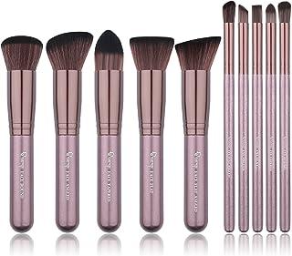 Qivange Makeup Brush Set, Synthetic Soft Kabuki Flat Top Foundation Bronzer Eyeshadow Labeled Makeup Brushes(10pcs, Coffee Gold)