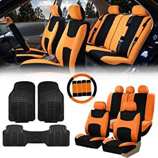 FH Group FB030115 Light & Breezy Cloth Seat Covers, Airbag & Split Ready Orange/Black Combo Set: Steering Wheel Cover, Seat Belt Pads and F11306 Vinyl Floor Mats-Fit Most Car, Truck, SUV, or Van
