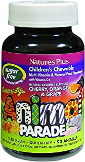 NaturesPlus Animal Parade Source of Life Sugar-Free Children's Multivitamin - Assorted Cherry, Orange & Grape Flavors - 90...