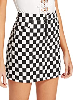 Women's Elegant Mid Waist Above Knee O-Ring Zipper Front Plaid Skirt