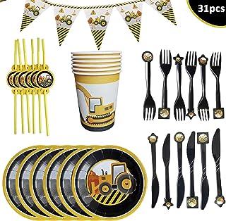 WENTS Set de Vajilla de Fiesta 31 Pcs Vajilla Fiesta Construcción Artículos de vajilla Fiesta Incluye Placas, Tenedores, Cuchillos, Vaso de Papel, Pajitas y Banderín 6 Personas