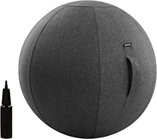 Guken Sitting Ball Chair with Cover Multi-Purpose Yoga Exercise Ball Stability, Fitness and Birthing Ball with Inflator and Handle