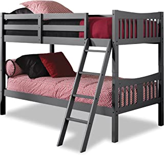 Storkcraft Caribou Solid Hardwood Twin Bunk Bed, Gray Twin Bunk Beds for Kids with Ladder