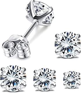 Set with Swarovski Zirconia Stud Earrings for Women 3 Pairs(3mm 4mm 5mm) 925 Sterling Silver Round Cut CZ Earrings Set