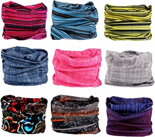 Kingree 9PCS Outdoor Headscarves for ATV/UTV riding, Seamless Bandanas Tube, High Elastic Headband with UV Resistance, Womens and Mens Headband Headwear Headwrap (Scratch The Surface)