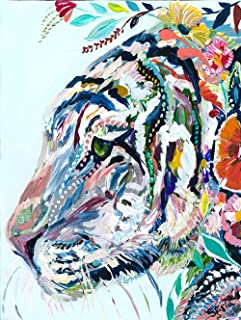 DIY Colorful Tiger Diamond Painting, Square Full Drill Diamond Painting Kit for Adults, Animal 5D Diamond Painting, 5D Diamond Painting kit, for Home Wall Decor, Paint by Number Kits (11.8X15.8 inch)