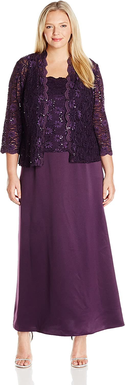 Alex Evenings Women's PlusSize Long ALine with and Scallop Sequin Detail