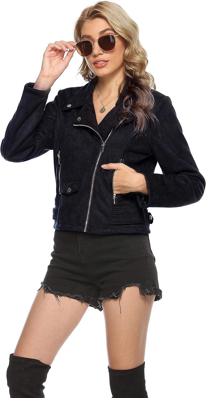 Uaneo Womens Faux Suede Short Casual Motorcycle Biker Jacket Coat(Black-XS)