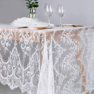 B-COOL Wedding Table Line 60 x 120 Inches White Lace Tabelcloth 2 Pieces Sheer Table Runner Wedding Reception Top Table Decoration