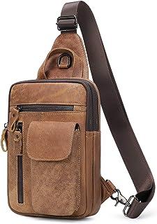 BAIGIO Sling Bag, Bolso Hombro de Pecho Bandolera Cuero Vintage Grande Shoppers Mochila Cruzada de Viaje Trabajo Casual Cr...
