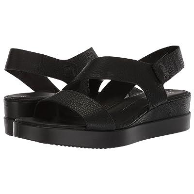 ECCO Touch 2-Strap Plateau (Black Cow Leather) Women