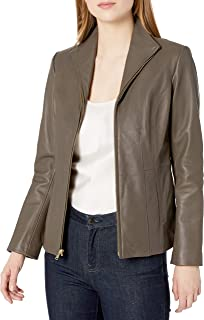 Cole Haan womens Cole Haan Wing Collar Jacket Leather Jacket
