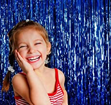 Wobbox Big 3ft x 6ft Tinsel Metallic Foil Fringe Curtains Backdrop Door Window Curtain Party Decoration (One Pack) ( Blue )