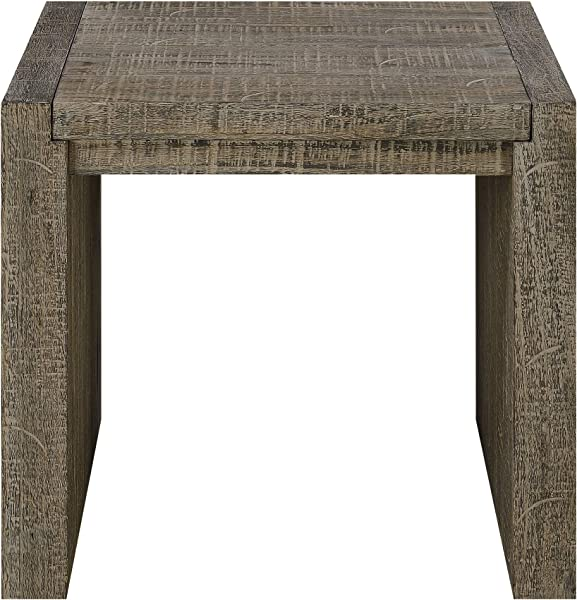 Deckland Square End Table In Mustang Gray With Plank Style Top And Waterfall Ends By Artum Hill
