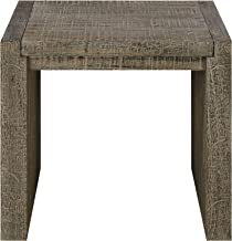 Deckland Square End Table in Mustang Gray with Plank Style Top And Waterfall Ends, by Artum Hill