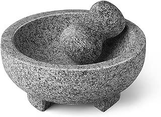 Flexzion Granite Mortar and Pestle Set - Solid Granite Stone Grinder Bowl Holder 7.9 Inch For Guacamole, Herbs, Spices, Garlic, Kitchen, Cooking, Medicine