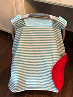 Car Seat Canopy Boy, Optional Personalization, Carseat Blanket Tent Cover for Boys, Aqua Stripe Red