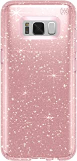 Speck Products Presidio Clear+ Glitter Cell Phone Case for Samsung Galaxy S8 - Rose Pink With Gold Glitter