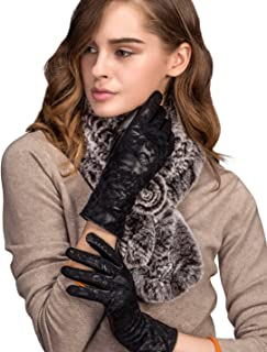 Women's Winter Sheepskin Touchscreen Genuine Leather Gloves Fleece Lined