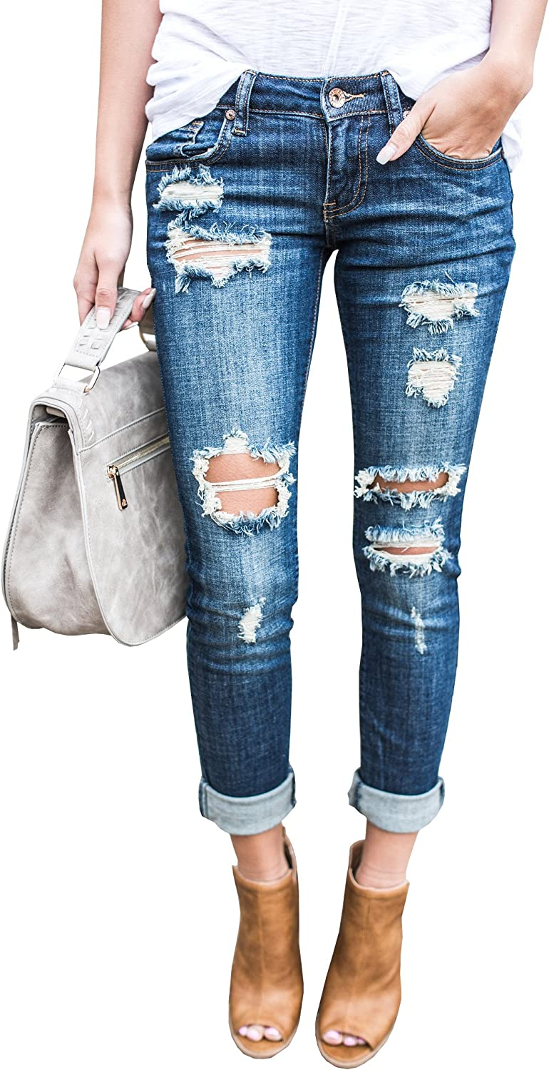 Ermonn Women Distressed Denim Jeans Skinny Stretch Roll Up Ripped bluee Jeans Pants
