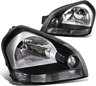 For Tucson JM 1st Gen Pair of Black Housing Clear Signal Headlight Lamp