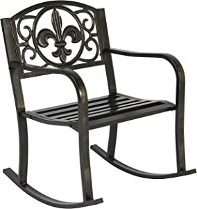 Best Choice Products Outdoor Metal Rocking Chair Seat for Patio, Porch, and Deck w/Scroll Design and Bronze Finish, Black