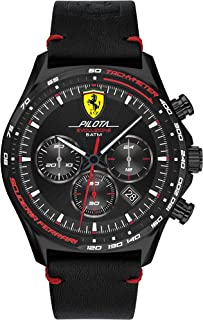Ferrari Men's Pilota Evo Stainless Steel Quartz Watch with Leather Calfskin Strap, Black, 22 (Model: 0830712)