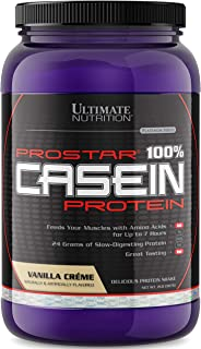 Ultimate Nutrition Prostar Micellar and Hydrolyzed Casein Protein Powder - Fat Free Overnight Muscle Growth and Recovery with BCAAs, 2 Pounds, Vanilla