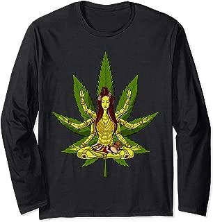 Weed Leaf Shiva Zen Yoga Cannabis Marijuana Meditation Long Sleeve T-Shirt