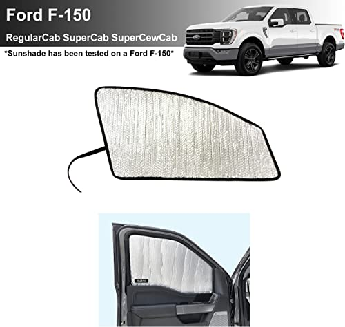 popular YelloPro Side Window Front Seat Sunshade (Set of 2) Custom Fit for 2021 Ford F-150 F150, XL, XLT, Lariat, King Ranch, Platium, Limited, Regular Cab, Super Cab, sale Super Crew Cab, UV Reflector 2021 Protection online sale