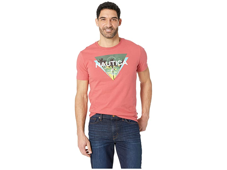 Nautica Short Sleeve Triangle Print Tee (Coral Cape) Men
