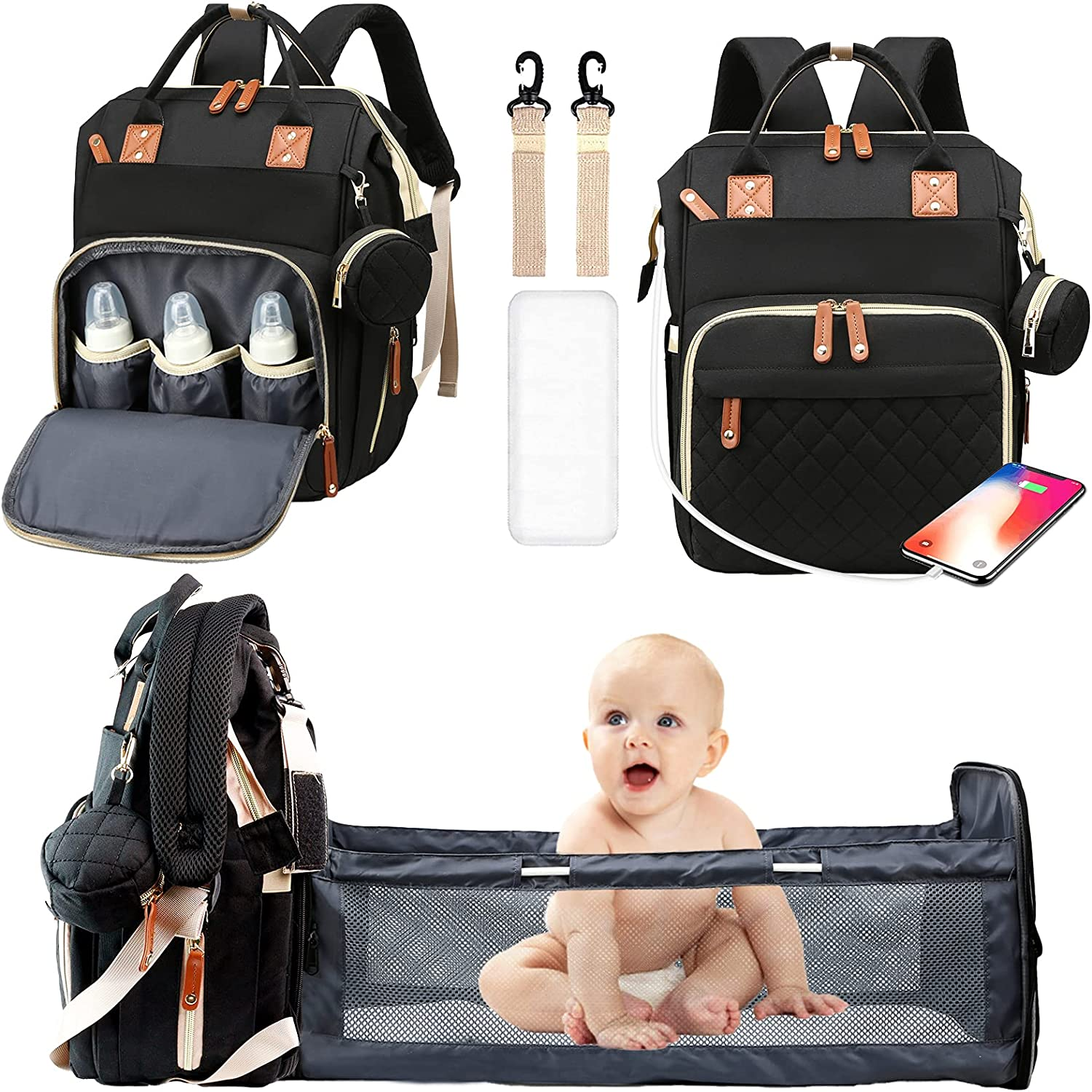 Diaper Bags With Changing Station Large Capacity Travel Baby Bags Backpack For Dad Mom Multifunction Foldable Nappy Bags with Crib/Pacifier Case/USB Charging Port/Insulated Pockets/Waterproof
