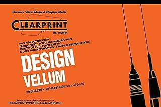 Clearprint 1000H Design Vellum Pad, 16 lb, 100% Cotton, 12 x 18 Inches, 50 Sheets, Translucent White, 1 Each (10001418)