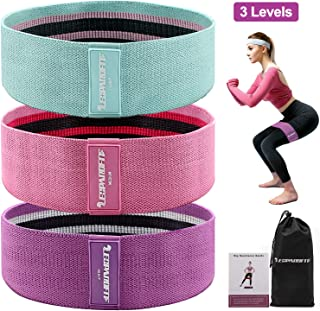 LEOPARDFIT Resistance Bands for Legs and Butt, 3 Levels Fabric Workout Bands Exercise Bands Glute Bands Non Slip Hip Bands Booty Bands for Squat Glute Hip Training