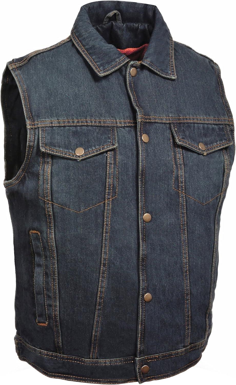 Milwaukee Leather Men's Snap Front Denim Vest w/Shirt Collar (Blue,)