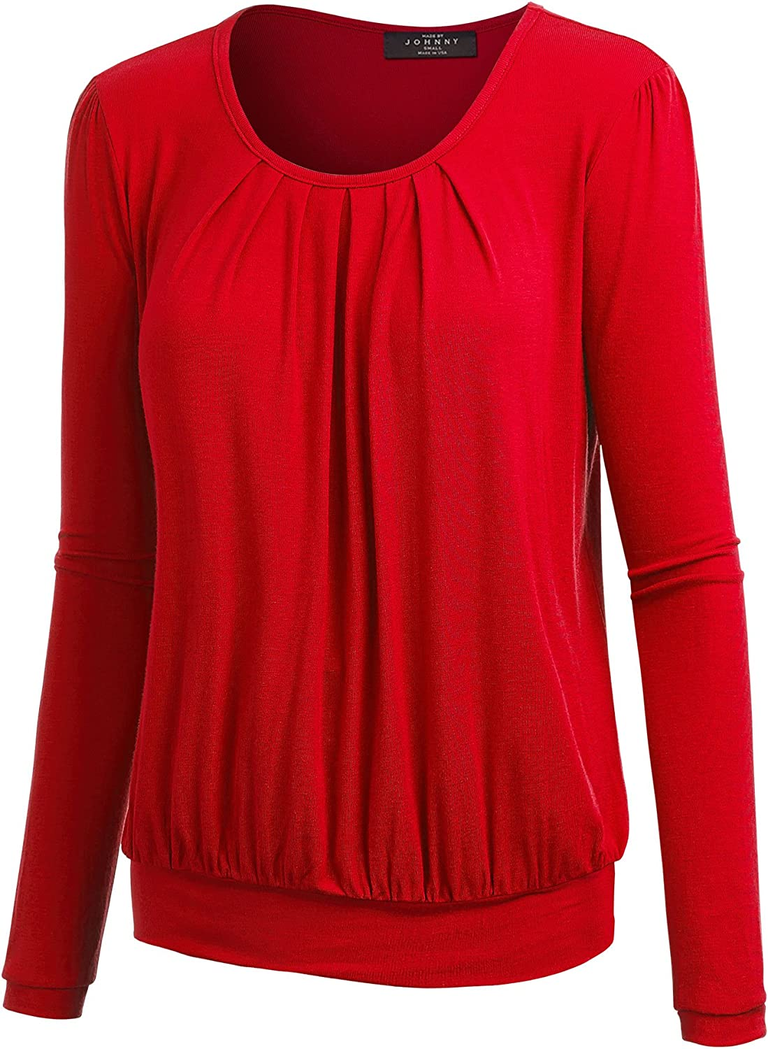MBJ Womens UNeck Long Sleeve Pleats Top  Made in USA