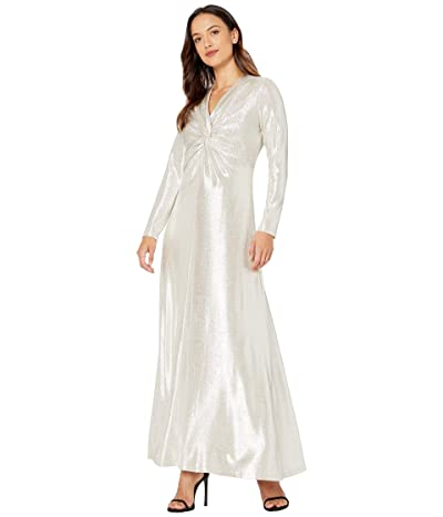 Tahari by ASL Petite Long Sleeve Twist Front Metallic Stretch Gown (Silver Powder) Women