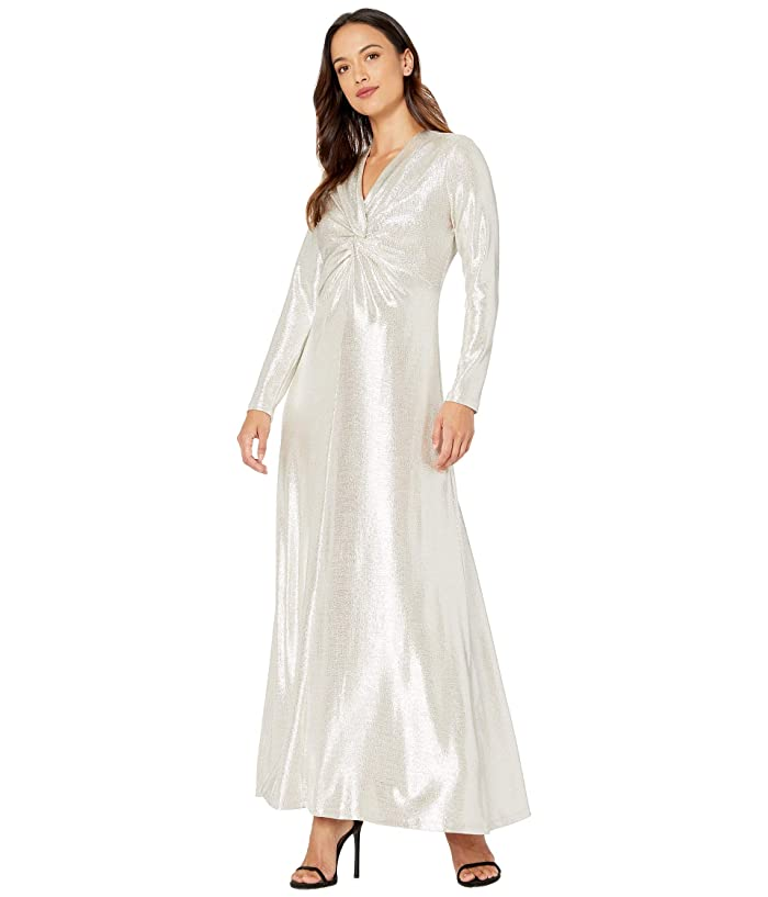 60s Wedding Dresses | 70s Wedding Dresses Tahari by ASL Petite Long Sleeve Twist Front Metallic Stretch Gown Silver Powder Womens Dress $135.28 AT vintagedancer.com