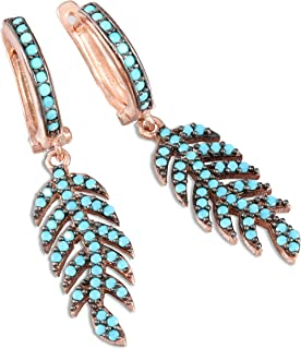 chimoda Leaf Design Earrings for Women, 925 Sterling Silver, Blue Turquoise Stone, Rose Plated Women's Jewelry, Drop Dangle