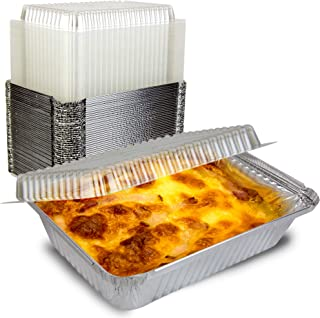 [50 Pack] Rectangular Disposable Aluminum Foil Pan Take Out Food Containers with Clear Plastic Dome Lids, Steam Table Baki...
