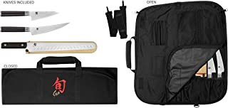Shun Cutlery Classic 4-Piece BBQ Set; Includes Three Knives and One Knife Roll for Storage, 4.5-inch Asian Multi-Prep Knife, 6-inch Boning/Fillet Knife, 12-inch Brisket Knife, 8-Slot Knife Roll
