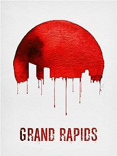 Trademark Fine Art Grand Rapids Skyline Red by Naxart, 18x24, Multiple
