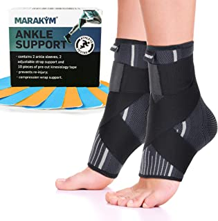 Premium Ankle Compression Socks Men & Women | Best Free Size Medical Ankle Support Pair(2 Pcs) With Compression Wrap Support For Improved Injury Prevention and Recovery - Bonus Kinesiology Tape & Carr