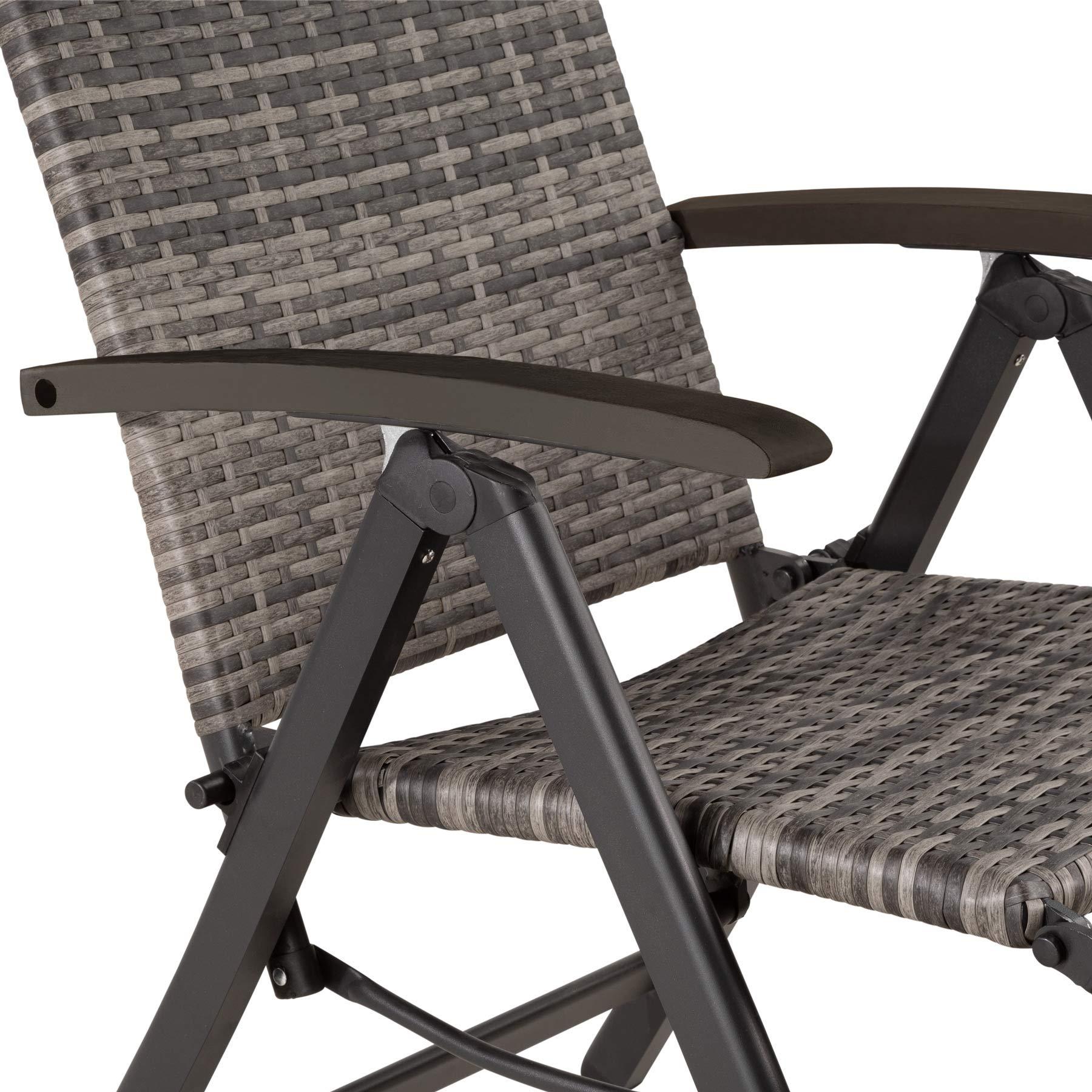 Grigio | No. 403217 Disponibile in Diversi Colori Sedia da Giardino Braccioli e Schienale Regolabile TecTake 800720 Poltrona Relax con Poggiapiedi 76 x 57,5 x 113 cm